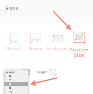 choosing custom canvas print sizes
